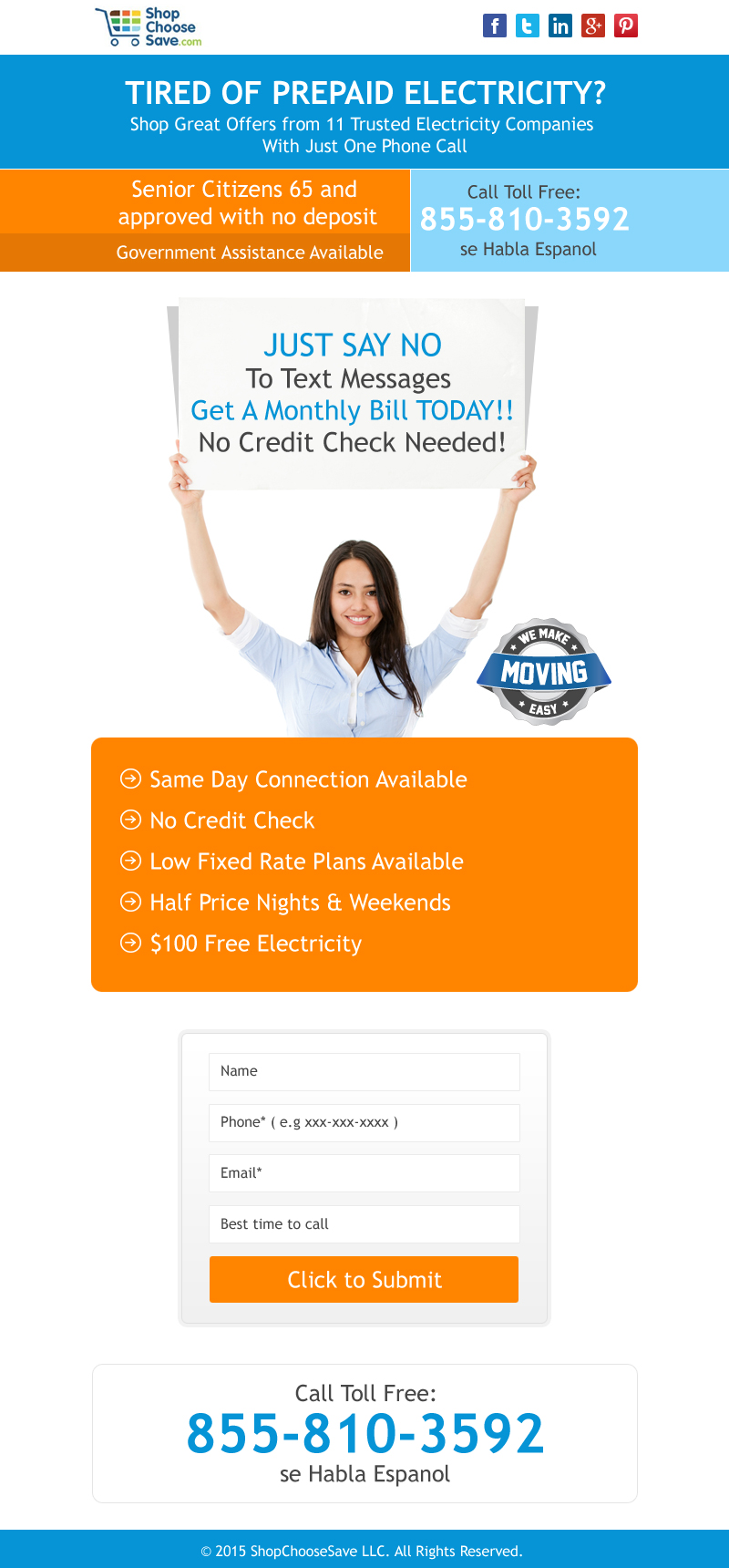 prepaid electricity landing page