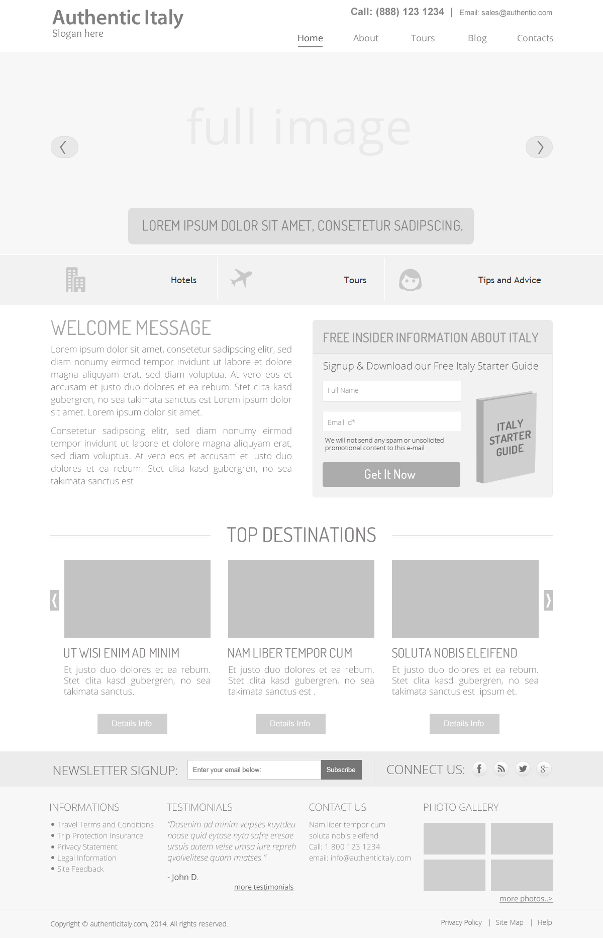 travel website wireframe