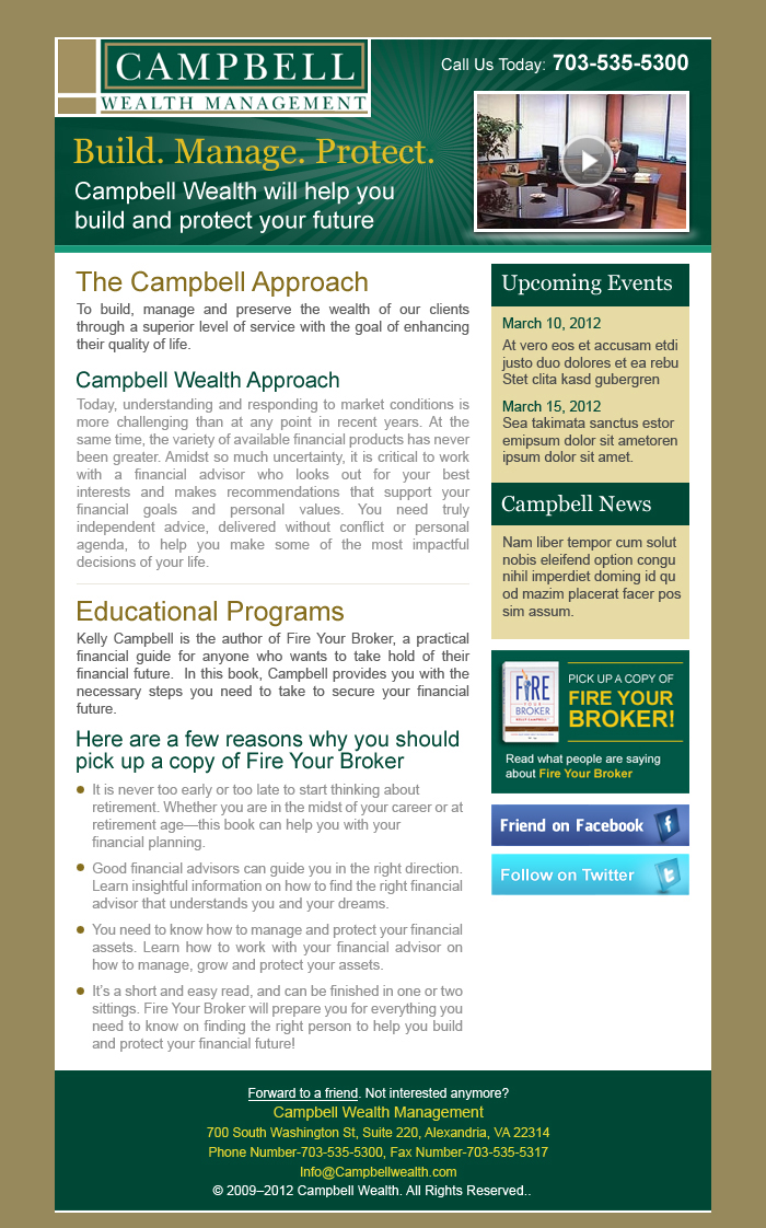 wealth management email template